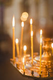 Candles and lamp close-up. Interior Of Orthodox Church. In Easter. baby christening. Ceremony a in Christian . bathing the into the baptismal font Stock Photos