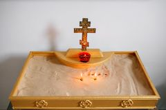 Two candles and lamp close-up. Interior Of Orthodox Church In Easter. baby christening. Ceremony in Christian . bathing. Candles and lamp close-up. Interior Of Stock Photo