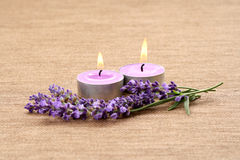 Candles and lavender Royalty Free Stock Photos