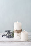 Candles with lavender flowers Royalty Free Stock Image