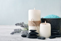 Candles with lavender flowers Royalty Free Stock Photos