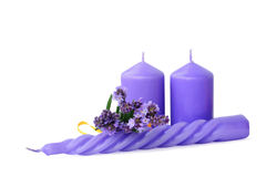 Candles and lavender Royalty Free Stock Photography