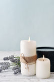 Candles with lavender Stock Image