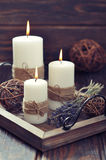 Candles with lavender Royalty Free Stock Photo