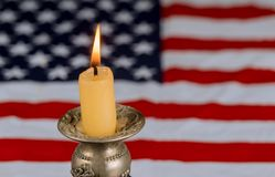 Candles light background USA flag Remembrance Day. Remembrance Day candles light background USA flag, patriot, memorial, american, 911, national, symbol, holiday stock photo