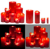 Candles Light Group, Red Candles Lights Set, White isolated Royalty Free Stock Image