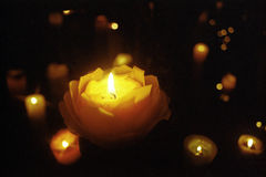 Candles. Light of mysterious Candle/black-background Stock Images