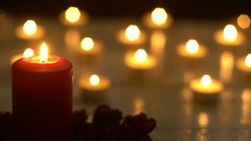 Candles light romance with rose.  stock footage