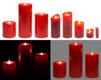 Candles Light, Set of Red Candles Lights, Isolated White Black Stock Photo