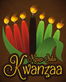 Candles Lighted with Corn Husks for Kwanzaa Celebration, Vector Illustration Stock Image