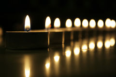 Candles lighted Stock Images
