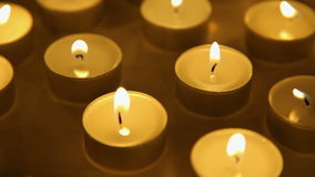 Candles lights background, burning candle decoration stock video footage