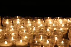 Candles lights. Church candles. Candles lights in church somewhere in Italy Stock Image