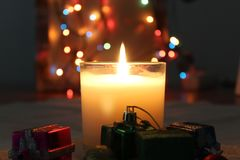 Candles and lights for romantic concept stock photos