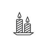 Candles line icon, outline vector sign, linear pictogram isolate. D on white. logo illustration Stock Photos