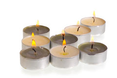 Candles lined up in an arrow Royalty Free Stock Images