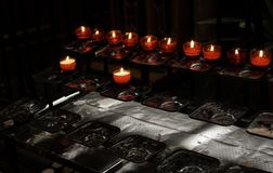 Candles lit church. Christianity and faith, terrorism stock images