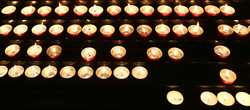 candles lit with flickering flame Royalty Free Stock Photo