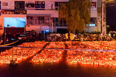 Candles Lit In Memory Of The 32 Dead People And 150 Wounded In The Fire At Club Colectiv Stock Photo