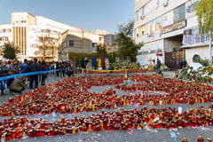 Candles Lit In Memory Of The 32 Dead People And 150 Wounded In The Fire At Club Colectiv Royalty Free Stock Image