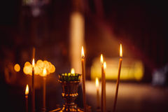 Candles. Are lit in the temple Stock Images