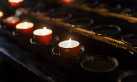 Candles lit in the temple Stock Photo