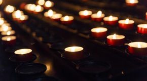 Candles lit in the temple Stock Image