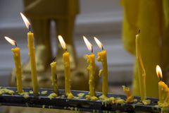 Candles lit in the temple Royalty Free Stock Photo