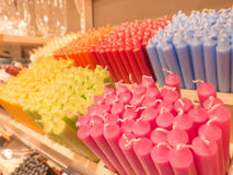 Candles. Lots of colorful candles in an interior decorations shop - some selective focus Stock Photo