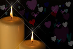 Candles with love hearts Stock Images