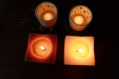 Candles for a warm illumination. Candles make a warm illumination. They are romantic, cheap and make no use of any energy royalty free stock photography