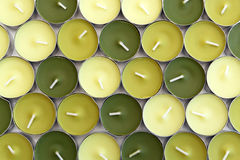 Candles. Many colorful candles(dark green, apple green, light green Stock Photo