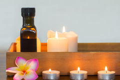 Candles and massage oil composition Royalty Free Stock Images