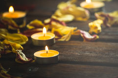 Candles for meditation and soothe the soul. Candles for meditation and calming on the dark souls boards Stock Photography