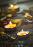 Candles for meditation and soothe the soul. Candles for meditation and calming on the dark souls boards Stock Images
