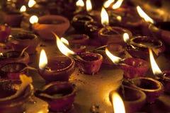 Candles at Meenakshi hindu temple in Madurai Stock Photo