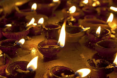 Candles at Meenakshi hindu temple Royalty Free Stock Image