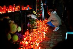 Candles in memory of Colectiv Club tragedy victims Stock Image