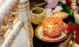 Candles for mendhi henna wedding royalty free stock photography