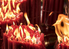 Candles With Molten Red Wax Royalty Free Stock Photography