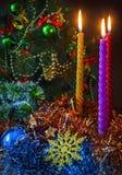 Candles near Christmas tree Stock Photo