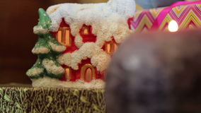 Candles near a Christmas tree,decorations stock footage