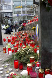 Candles next to the base of Wenceslas monument Stock Image