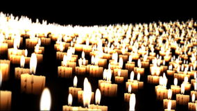 Candles in the night fly over, closeup stock video footage