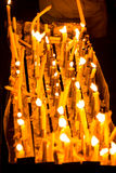 Candles at night. Candles are in the night which were lighten up by many people for respecting their religion Stock Photography