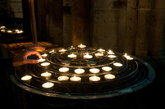 Candles in Notre-Dame de Paris Royalty Free Stock Images