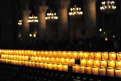 Candles in Notre-Dame, Paris. Prayer candles a cathedral -Paris stock image