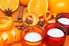 Candles, oranges and spices Royalty Free Stock Photo