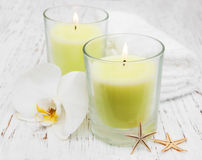 Candles and orchid Royalty Free Stock Photo