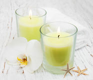 Candles and orchid Royalty Free Stock Image